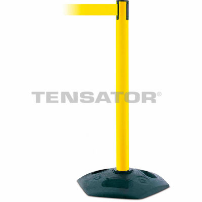 Tensabarrier Yellow Heavy Duty Post 7.5'L Yellow Retractable Belt Barrier