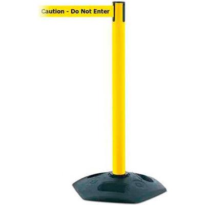 """Tensabarrier Crowd Control, Queue Stanchion Retractable Barrier Plastic, Yellow 7.5' """"Caution"""" Belt"""