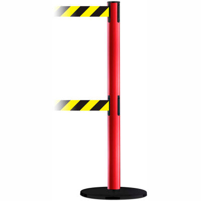 Tensabarrier Crowd Control, Queue Dual Stanchion Post, Red W/ 7.5' Blk/Yllw Retractable Belt Barrier