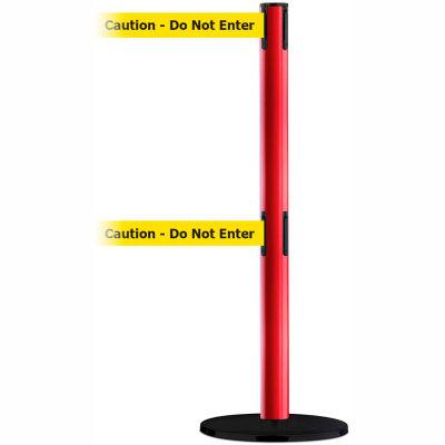 "Tensabarrier Crowd Control, Queue Dual Stanchion Post, Red W/ 7.5' Yellow ""Caution"" Retractable Belt"