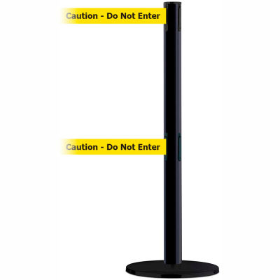 "Tensabarrier Safety Crowd Control, Queue Stanchion, Blue W/ 7.5' Yllw ""Caution"" Retractable Belt"