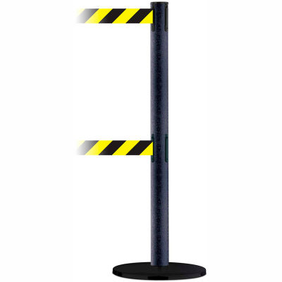 Tensabarrier Safety Crowd Control, Queue Dual Stanchion Post, Black Wrinkle W/ 7.5' Blk/Yellow Belt