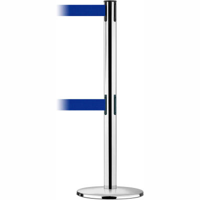 Tensabarrier Crowd Control, Queue Dual Stanchion Post, Pol Chrome W/ 7.5' Blue Retractable Belt