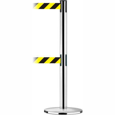 Tensabarrier Safety Crowd Control, Queue Dual Stanchion Post, Pol Chrome W/ 7.5' Black/Yellow Belt