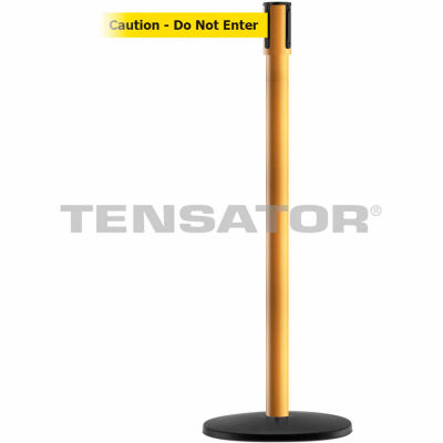 "Tensabarrier Safety Crowd Control, Queue Stanchion, Yllw W/ 7.5' Yllw ""Caution"" Retractable Belt"
