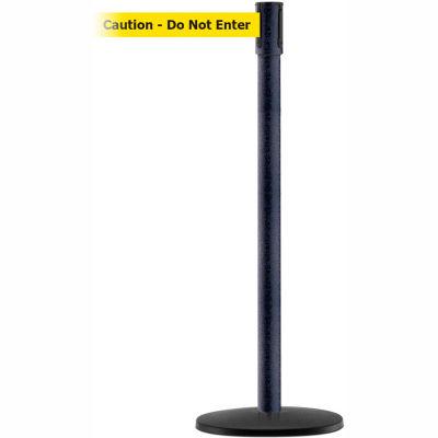 "Tensabarrier Crowd Control Queue Stanchion Post, Blk Wrinkle W/ 7.5' Yllw ""Caution"" Retractable Belt"