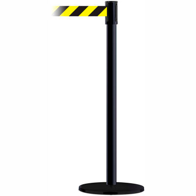 Tensabarrier Crowd Control Queue Stanchion Post, Black W/ 7.5' Black/Yellow Retractable Belt Barrier