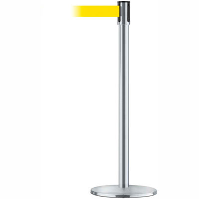 Tensabarrier Safety Crowd Control, Queue Stanchion Post, Pol Chrome W/ 7.5' Yellow Retractable Belt