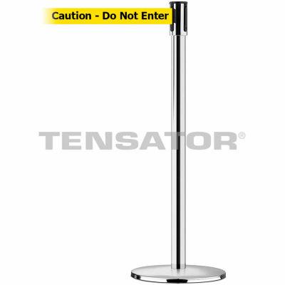 """Tensabarrier Crowd Control, Queue Stanchion Post, Pol Chrome W/ 7.5' Yllw """"Caution"""" Retractable Belt"""