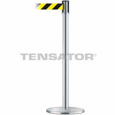 Tensabarrier Crowd Control, Queue Stanchion Post, Satin Chrome W/ 7.5' Black/Yellow Retractable Belt