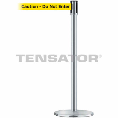 """Tensabarrier Crowd Control Queue Stanchion Post Satin Chrome W/ 7.5' Yllw """"Caution"""" Retractable Belt"""