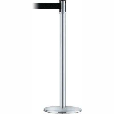 Tensabarrier Safety Crowd Control, Queue Stanchion Post, Satin Chrome W/ 7.5' Black Retractable Belt