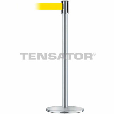 Tensabarrier Safety Crowd Control, Queue Stanchion Post, Satin Chrome W/ 7.5' Yllw Retractable Belt