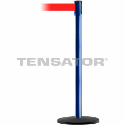Tensabarrier Safety Crowd Control, Queue Stanchion Post, Blue W/ 7.5' Red Retractable Belt Barrier