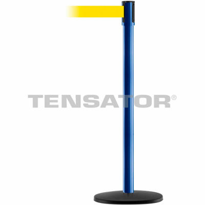 Tensabarrier Safety Crowd Control, Queue Stanchion Post, Blue W/ 7.5' Yllw Retractable Belt Barrier