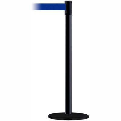 Tensabarrier Safety Crowd Control, Queue Stanchion Post, Black W/ 7.5' Blue Retractable Belt Barrier