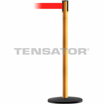 Tensabarrier Safety Crowd Control, Queue Stanchion Post, Yellow W/ 7.5' Red Retractable Belt Barrier