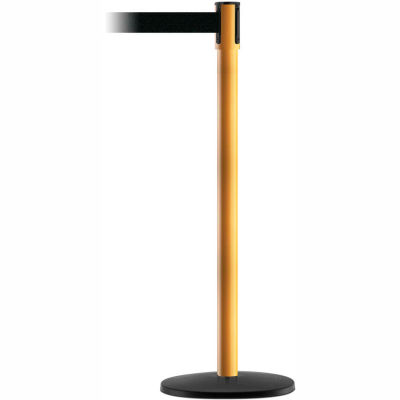 Tensabarrier Safety Crowd Control, Queue Stanchion Post, Yellow W/ 7.5' Blk Retractable Belt Barrier