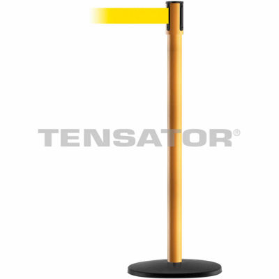 Tensabarrier Safety Crowd Control, Queue Stanchion Post, Yllw W/ 7.5' Yllw Retractable Belt Barrier