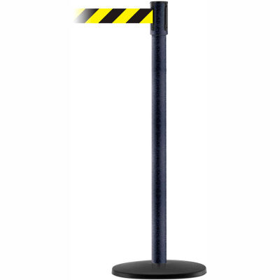 Tensabarrier Crowd Control, Queue Stanchion Post, Blk Wrinkle W/ 7.5' Blk/Yllw Retractable Belt