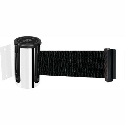 Tensabarrier Safety Crowd Control, Retractable Wall Mount Barrier, Polished Chrome W/ 13' Black Belt