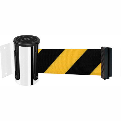 Tensabarrier Crowd Control, Retractable Wall Mount Barrier, Polished Chrome W/ 13' Black/Yellow Belt
