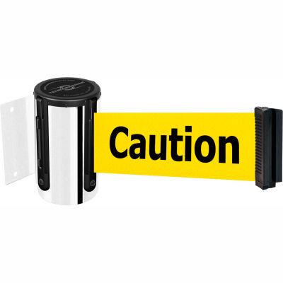 "Tensabarrier Crowd Control, Retractable Wall Mount Barrier, Chrome W/ 13' Yellow ""Caution"" Belt"
