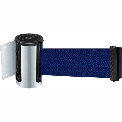 Tensabarrier Safety Crowd Control, Retractable Wall Mount Barrier, Satin Chrome W/ 13' Blue Belt