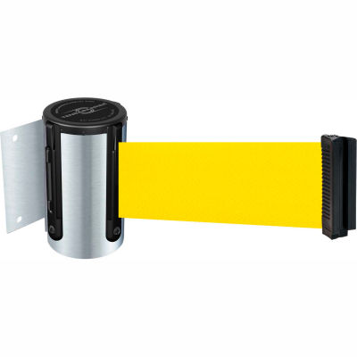 Tensabarrier Safety Crowd Control, Retractable Wall Mount Barrier, Satin Chrome W/ 13' Yellow Belt