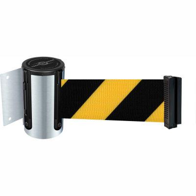 Tensabarrier Safety Crowd Control, Retractable Wall Mount Barrier, Satin Chrome W/ 13' Blk/Yllw Belt