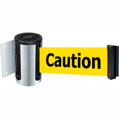 "Tensabarrier Crowd Control, Retractable Wall Mount Barrier, Satin Chrome W/ 13' Yllw ""Caution"" Belt"