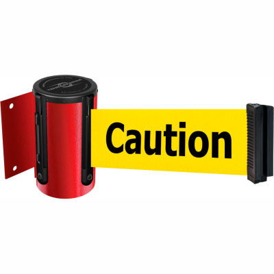 """Tensabarrier Safety Crowd Control, Retractable Wall Mount Barrier, Red W/ 13' Yellow """"Caution"""" Belt"""