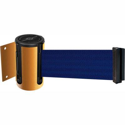 Tensabarrier Safety Crowd Control, Retractable Wall Mount Barrier, Yellow 13' Blue Belt