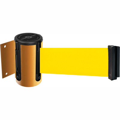 Tensabarrier Safety Crowd Control, Retractable Wall Mount Barrier, Yellow 13' Yellow Belt