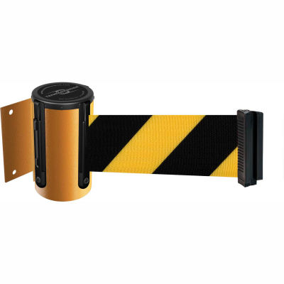 Tensabarrier Safety Crowd Control, Retractable Wall Mount Barrier, Yellow 13' Black/Yellow Belt