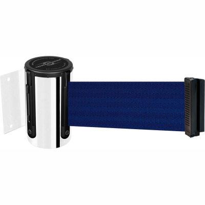 "Tensabarrier Safety Crowd Control, Retractable Wall Mount Barrier, Pol Chrome W/ 7'6"" Blue Belt"
