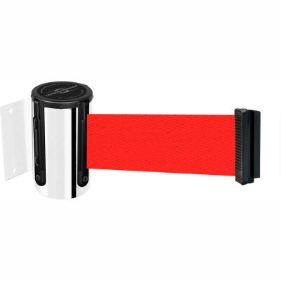 """Tensabarrier Safety Crowd Control, Retractable Wall Mount Barrier, Pol Chrome W/ 7'6"""" Red Belt"""