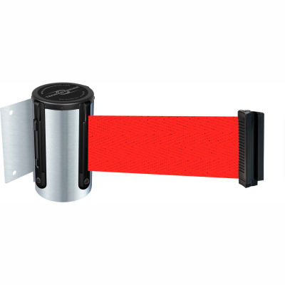 "Tensabarrier Safety Crowd Control, Retractable Wall Mount Barrier, Satin Chrome 7'6"" Red Belt"