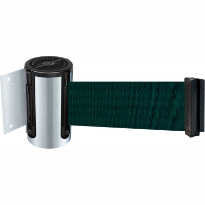 Tensabarrier Satin Chrome Mini Wall Mount 7.5'L Green Retractable Belt Barrier