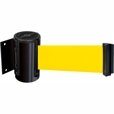 """Tensabarrier Safety Crowd Control, Retractable Wall Mount Barrier, Black With 7'6"""" Yellow Belt"""