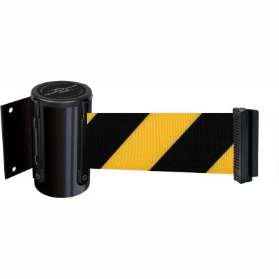 """Tensabarrier Safety Crowd Control, Retractable Wall Mount Barrier, Black With 7'6"""" Black/Yellow Belt"""
