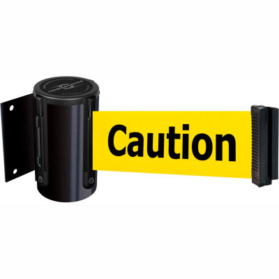 "Tensabarrier Safety Crowd Control, Retractable Wall Mount Barrier, Blk W/ 7'6"" Yellow ""Caution"" Belt"