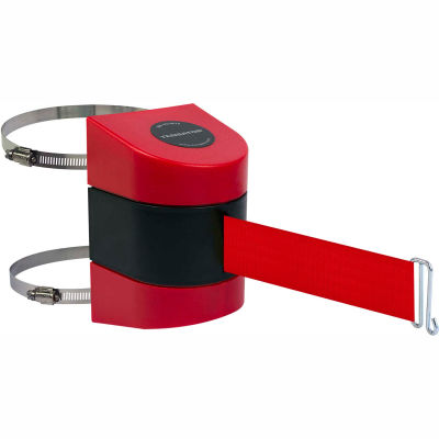 Tensabarrier Crowd Control, Retractable Wall Clamp Mount Barrier, Red W/ 15' Red Belt And Wire Clip