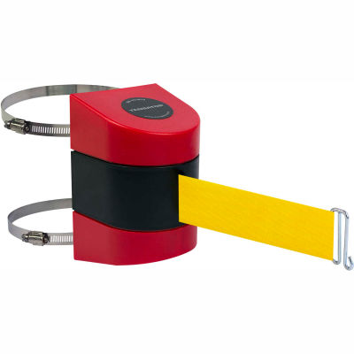 Tensabarrier Crowd Control, Retractable Wall Clamp Mount Barrier, Red W/ 15' Yllw Belt And Wire Clip