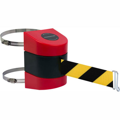 Tensabarrier Crowd Control, Retractable Clamp Wall Mount Barrier Red 15' Blk/Yllw Belt And Wire Clip