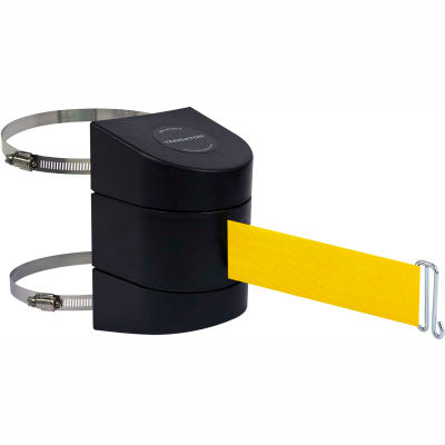 Tensabarrier Safety Crowd Control, Retractable Clamp Wall Mount Barrier, Black With 15' Yellow Belt