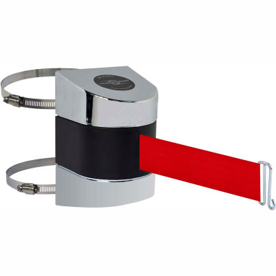 Tensabarrier Crowd Control, Retractable Clamp Wall Mount Barrier, Polished Chrome W/ 30' Red Belt
