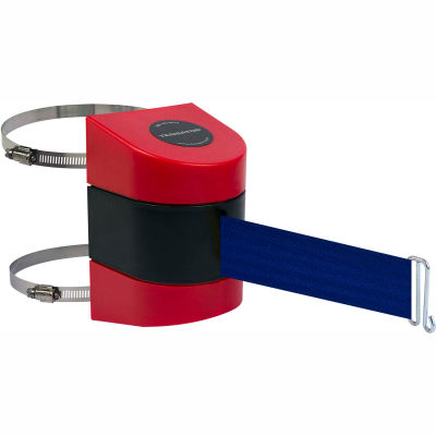 Tensabarrier Crowd Control, Retractable Clamp Wall Mount Barrier, Red W/ 30' Blue Belt And Wire Clip
