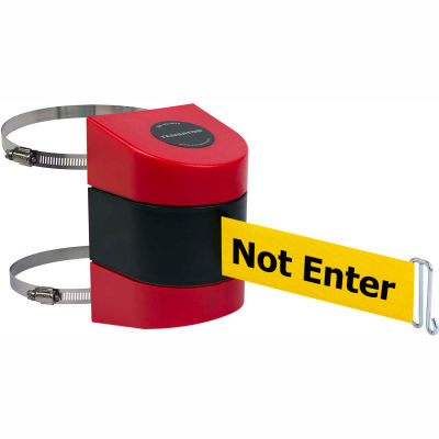 """Tensabarrier Crowd Control, Retractable Clamp Wall Mount Barrier, Red W/ 30' Yellow """"Caution"""" Belt"""
