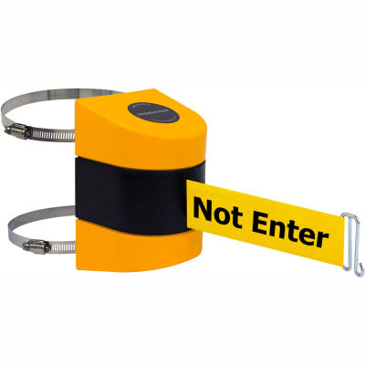 "Tensabarrier Crowd Control Retractable Clamp Wall Mount Barrier, Yellow W/ 30' Yellow ""Caution"" Belt"